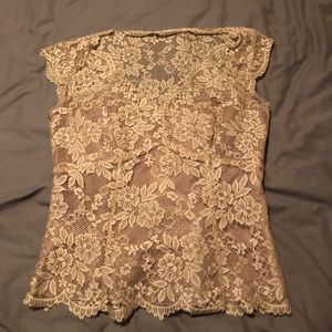 Ann Taylor NEW lace lined cap sleeve blouse sz 00